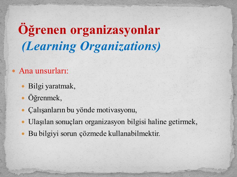 Öğrenen organizasyonlar (Learning Organizations) Ana unsurları: Bilgi yaratmak, Öğrenmek, Çalışanların bu yönde motivasyonu, Ulaşılan sonuçları organi