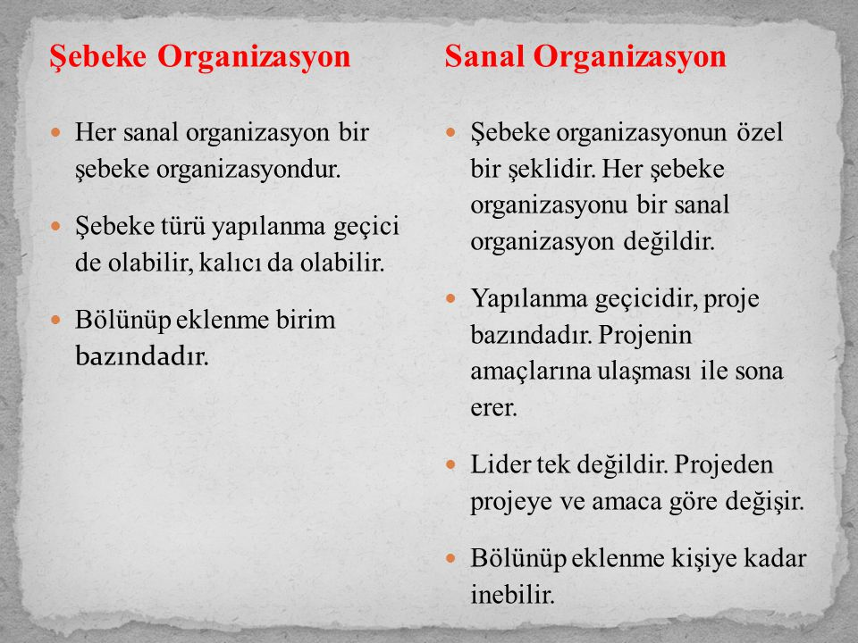 Şebeke Organizasyon Her sanal organizasyon bir şebeke organizasyondur.