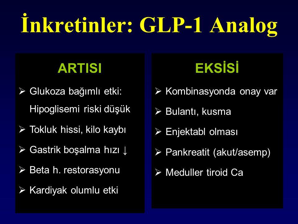 İnkretinler: GLP-1 Analog EKSİSİ  Kombinasyonda onay var  Bulantı, kusma  Enjektabl olması  Pankreatit (akut/asemp)  Meduller tiroid Ca ARTISI 