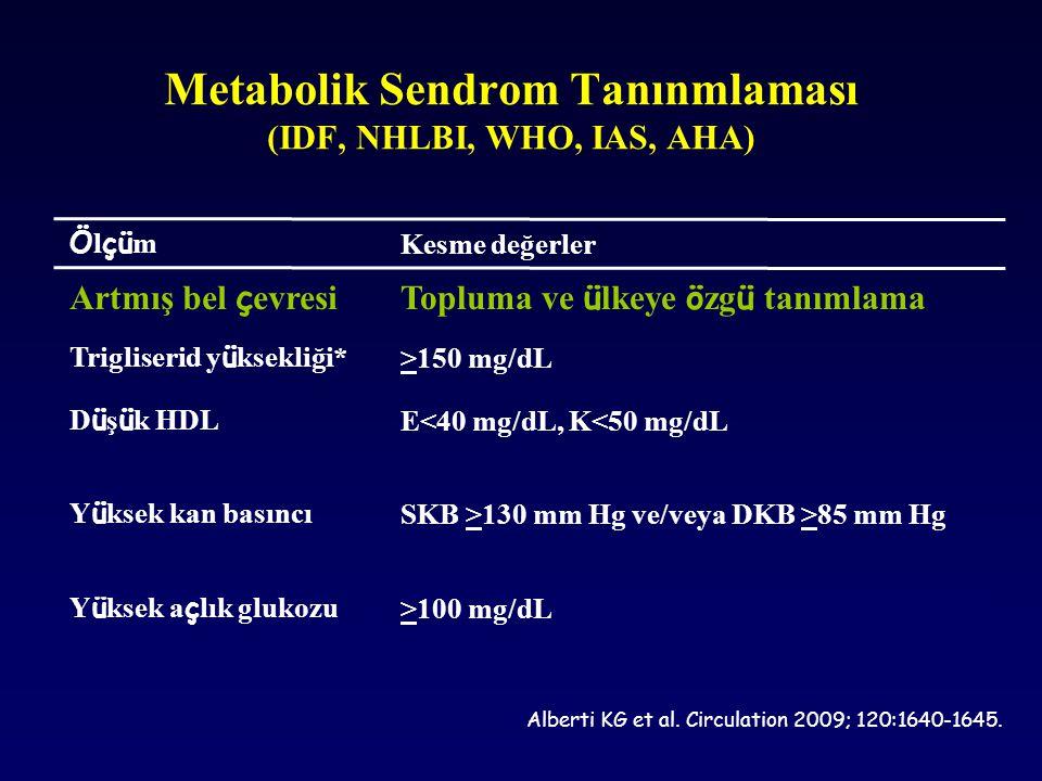 Ö l çü m Kesme değerler Artmış bel ç evresiTopluma ve ü lkeye ö zg ü tanımlama Trigliserid y ü ksekliği* >150 mg/dL D ü ş ü k HDL E<40 mg/dL, K<50 mg/