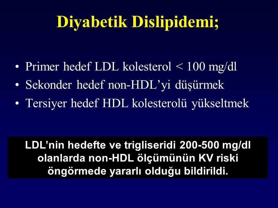 Diyabetik Dislipidemi; Primer hedef LDL kolesterol < 100 mg/dl Sekonder hedef non-HDL'yi düşürmek Tersiyer hedef HDL kolesterolü yükseltmek LDL'nin he