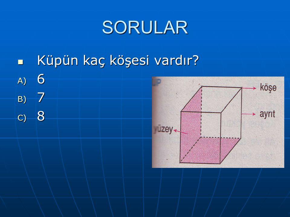 SORULAR Küpün kaç köşesi vardır? Küpün kaç köşesi vardır? A) 6 B) 7 C) 8