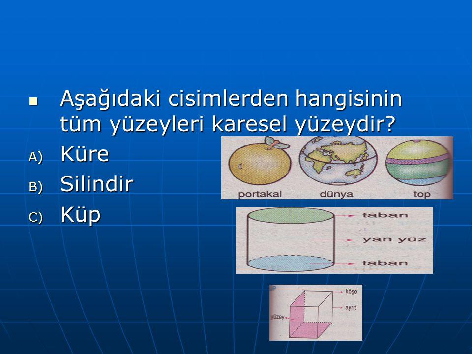 Aşağıdaki cisimlerden hangisinin tüm yüzeyleri karesel yüzeydir? Aşağıdaki cisimlerden hangisinin tüm yüzeyleri karesel yüzeydir? A) Küre B) Silindir