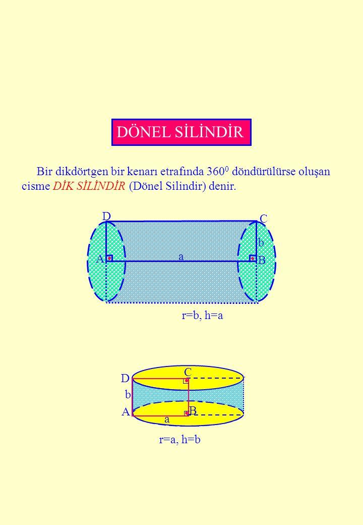 A B C D a b r=a, h=b DÖNEL SİLİNDİR Bir dikdörtgen bir kenarı etrafında 360 0 döndürülürse oluşan cisme DİK SİLİNDİR (Dönel Silindir) denir. C D A B a