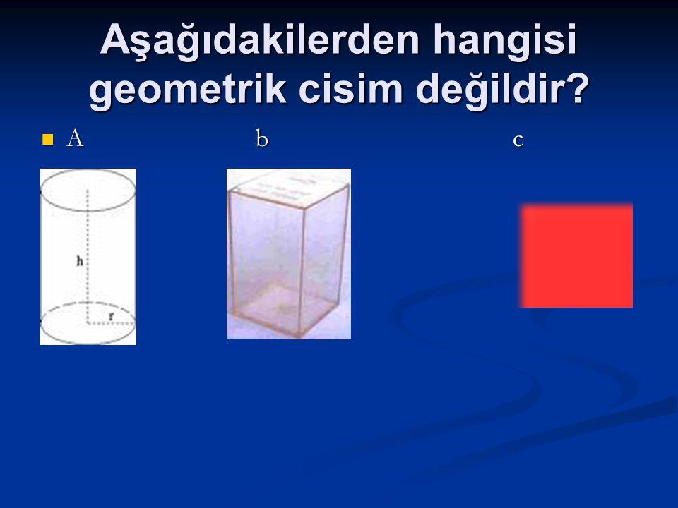 Aşağıdakilerden hangisi geometrik cisim değildir? A b c