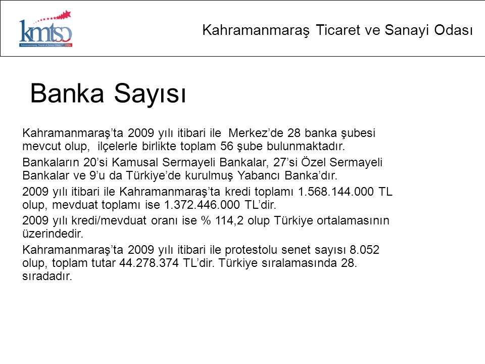Kahramanmaraş Ticaret ve Sanayi Odası Banka Sayısı Kahramanmaraş'ta 2009 yılı itibari ile Merkez'de 28 banka şubesi mevcut olup, ilçelerle birlikte toplam 56 şube bulunmaktadır.