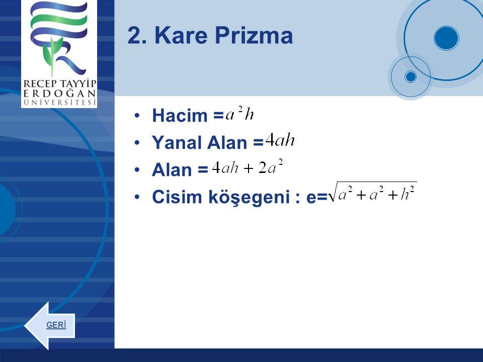 Company LOGO www.company.com Hacim = Yanal Alan = Alan = Cisim köşegeni : e= 2. Kare Prizma GERİ