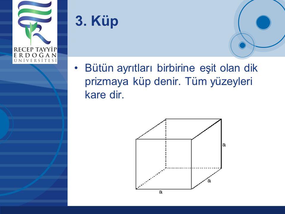 Company LOGO www.company.com Bütün ayrıtları birbirine eşit olan dik prizmaya küp denir. Tüm yüzeyleri kare dir. 3. Küp