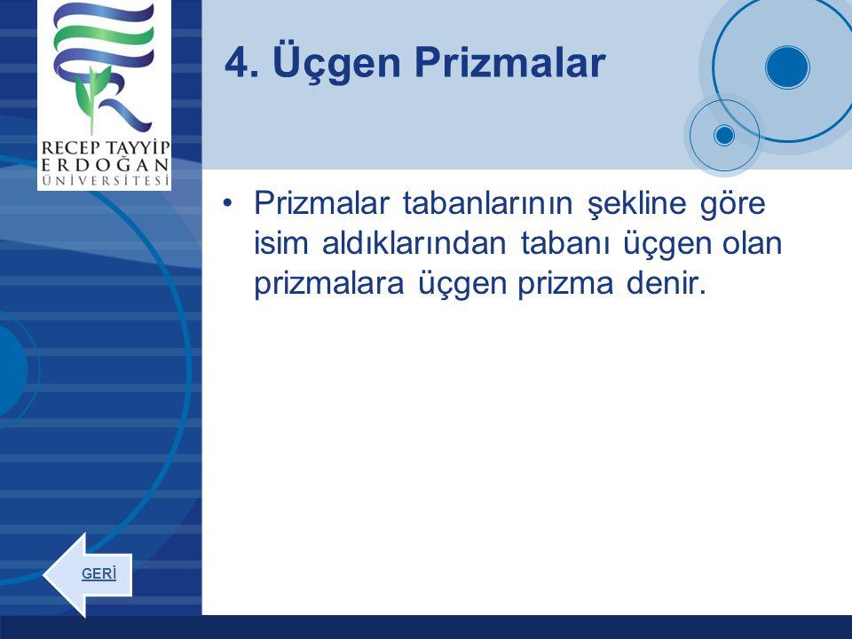 Company LOGO www.company.com Prizmalar tabanlarının şekline göre isim aldıklarından tabanı üçgen olan prizmalara üçgen prizma denir. 4. Üçgen Prizmala