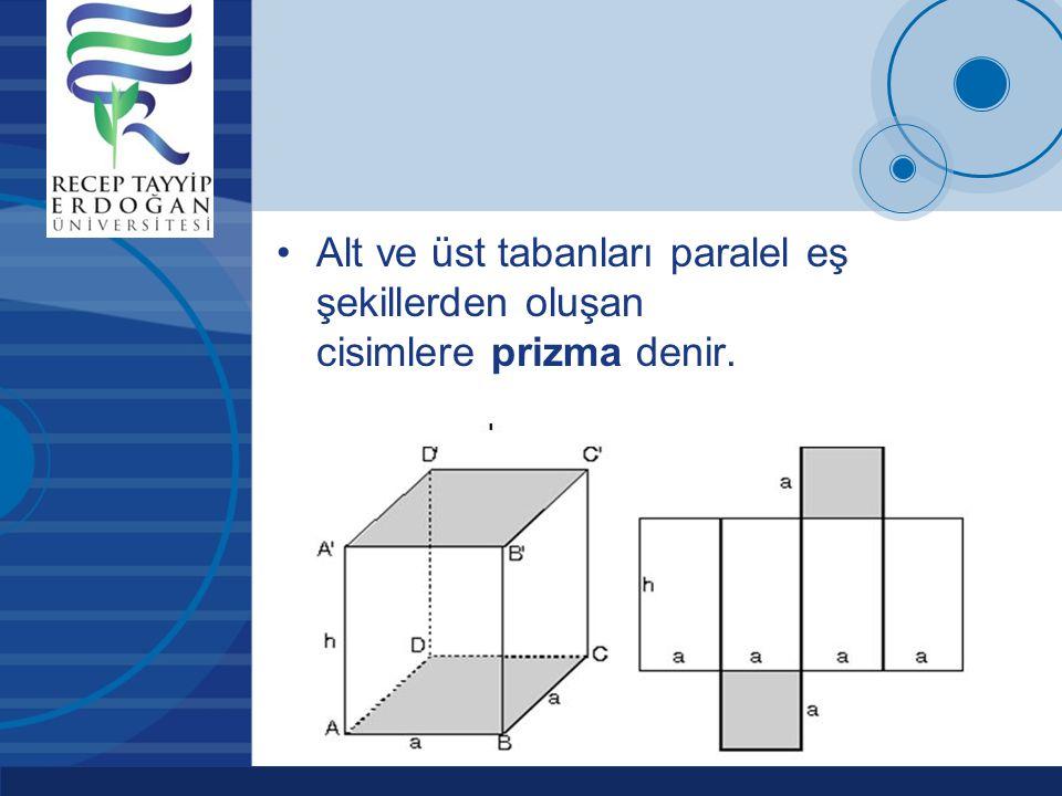 Company LOGO www.company.com Alt ve üst tabanları paralel eş şekillerden oluşan cisimlere prizma denir.