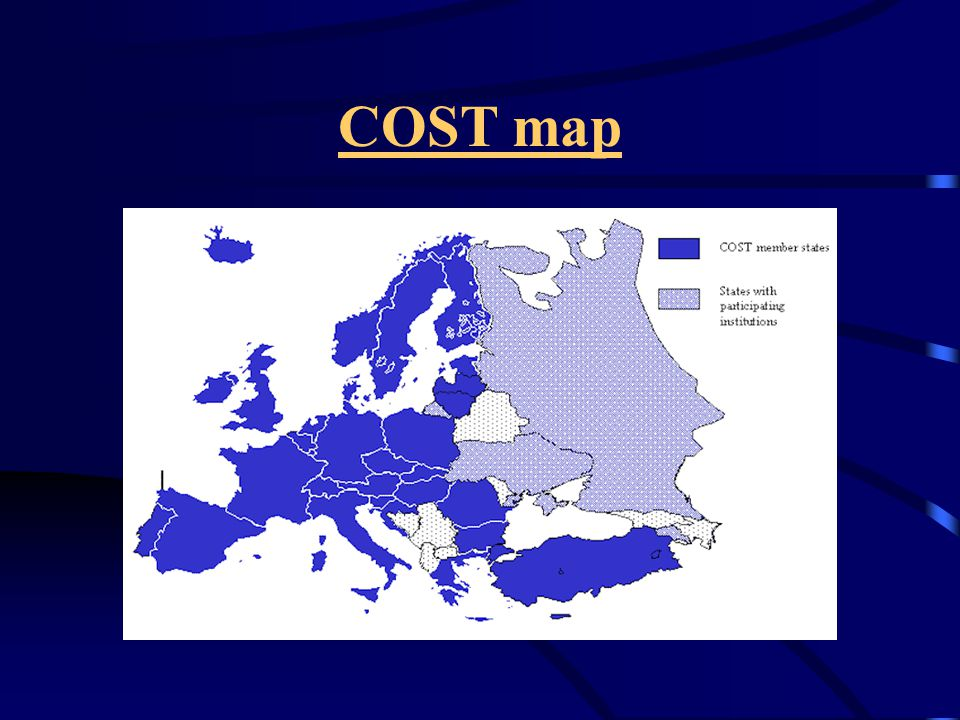 COST is based on Actions These are networks of co-ordinated national research projects in fields, which are of interest to a minimum number of participants (at least 5) from different member states The Actions are defined by a Memorandum of Understanding (MoU) signed by the Governments of the COST states wishing to participate in the Action The duration of an Action is generally 4 years