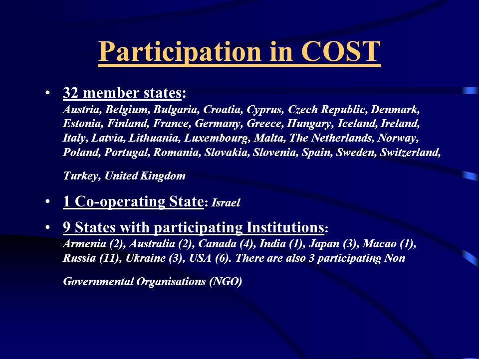 COST Aksiyonlarına Katılım Süreci Araştırıcıların mevcut veya yeni başlayan ( en az 5 ülke tarafından imzalanmış) aksiyonlara ait bilgi edinmeleri (duyurular, COST internet siteleri TUBİTAK Araştırma Grupları vb vasıtalarla).
