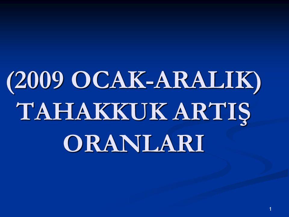 1 (2009 OCAK-ARALIK) TAHAKKUK ARTIŞ ORANLARI