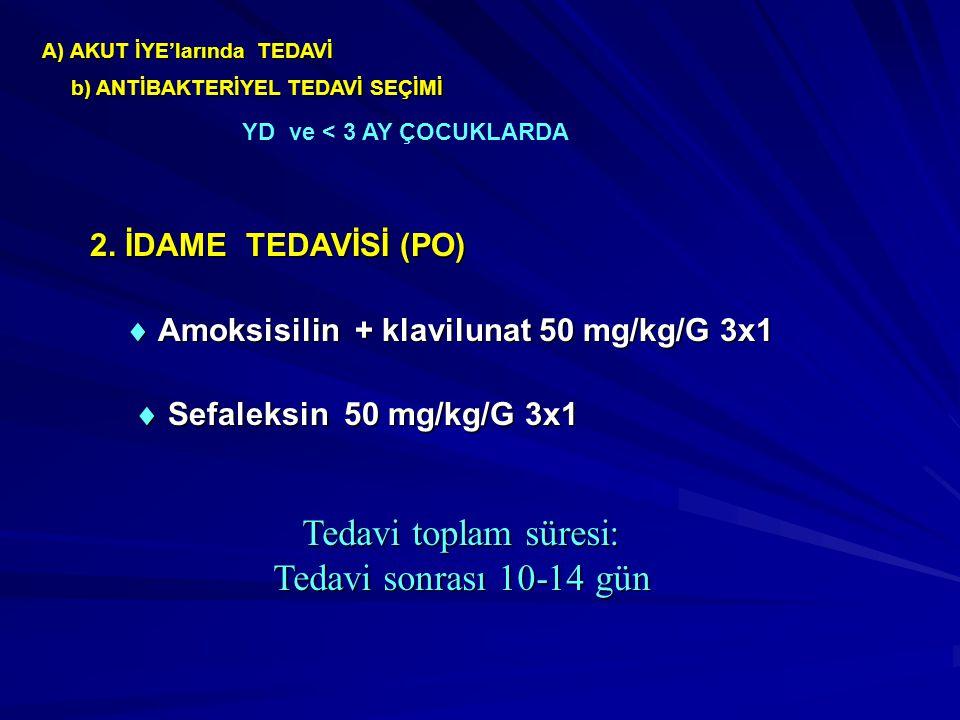 A) AKUT İYE'larında TEDAVİ 2. İDAME TEDAVİSİ (PO)  Amoksisilin + klavilunat 50 mg/kg/G 3x1  Sefaleksin 50 mg/kg/G 3x1  Sefaleksin 50 mg/kg/G 3x1 Te