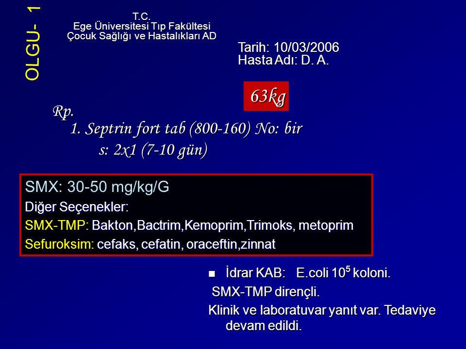 Rp. 1. Septrin fort tab (800-160) No: bir s: 2x1 (7-10 gün) T.C. Ege Üniversitesi Tıp Fakültesi Çocuk Sağlığı ve Hastalıkları AD Tarih: 10/03/2006 Has