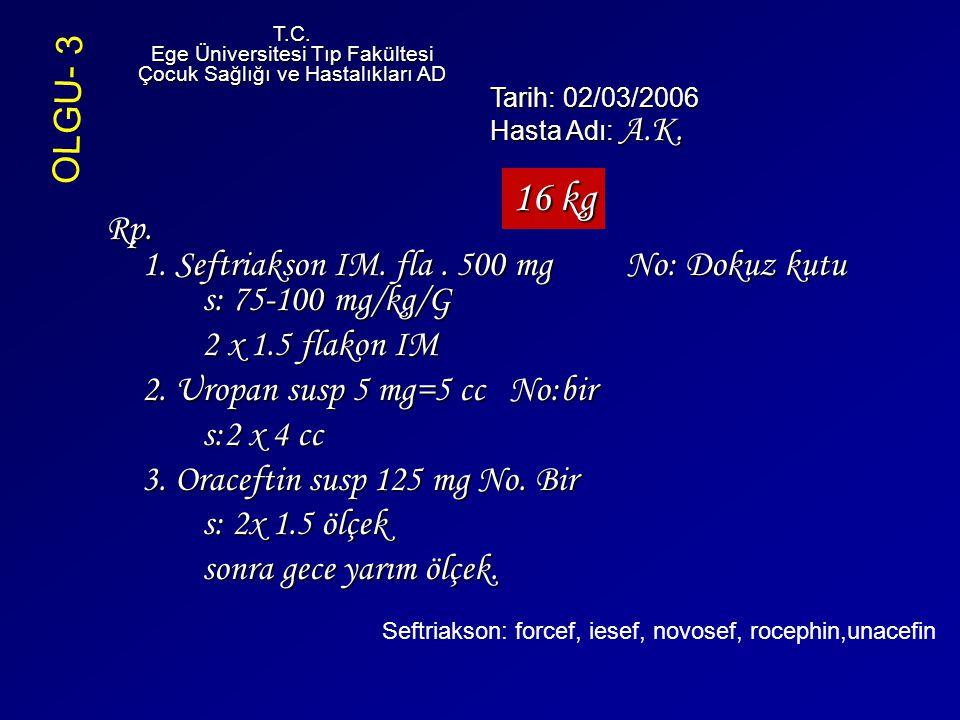Rp. 1. Seftriakson IM. fla. 500 mg No: Dokuz kutu s: 75-100 mg/kg/G 2 x 1.5 flakon IM 2. Uropan susp 5 mg=5 cc No:bir s:2 x 4 cc 3. Oraceftin susp 125