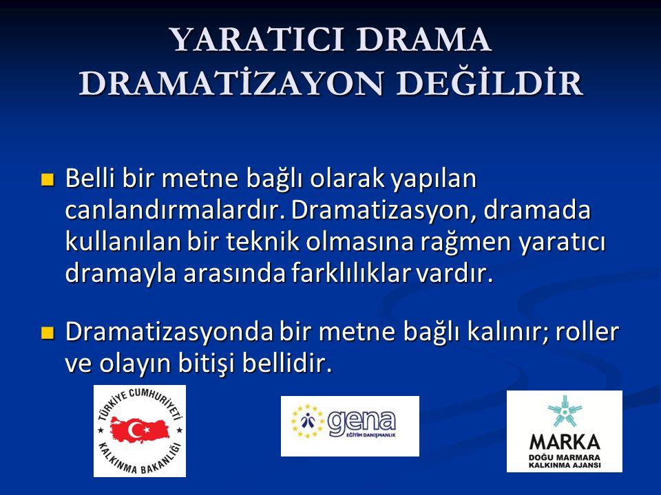 Yaratıcı drama da ise bir metinden yola çıkılsa bile, olayın nasıl biteceği ve roller katılımcılara bağlıdır.Dramatizasyon daha çok okul öncesinde kullanılır.