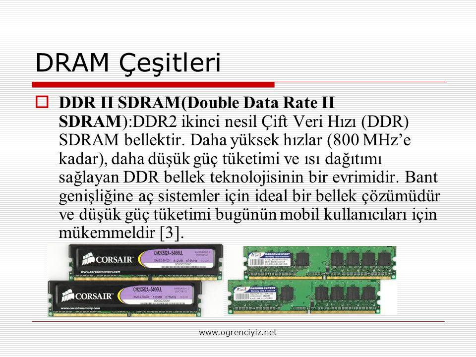 DRAM Çeşitleri  DDR II SDRAM(Double Data Rate II SDRAM):DDR2 ikinci nesil Çift Veri Hızı (DDR) SDRAM bellektir. Daha yüksek hızlar (800 MHz'e kadar),