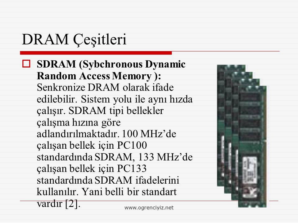 DRAM Çeşitleri  SDRAM (Sybchronous Dynamic Random Access Memory ): Senkronize DRAM olarak ifade edilebilir. Sistem yolu ile aynı hızda çalışır. SDRAM