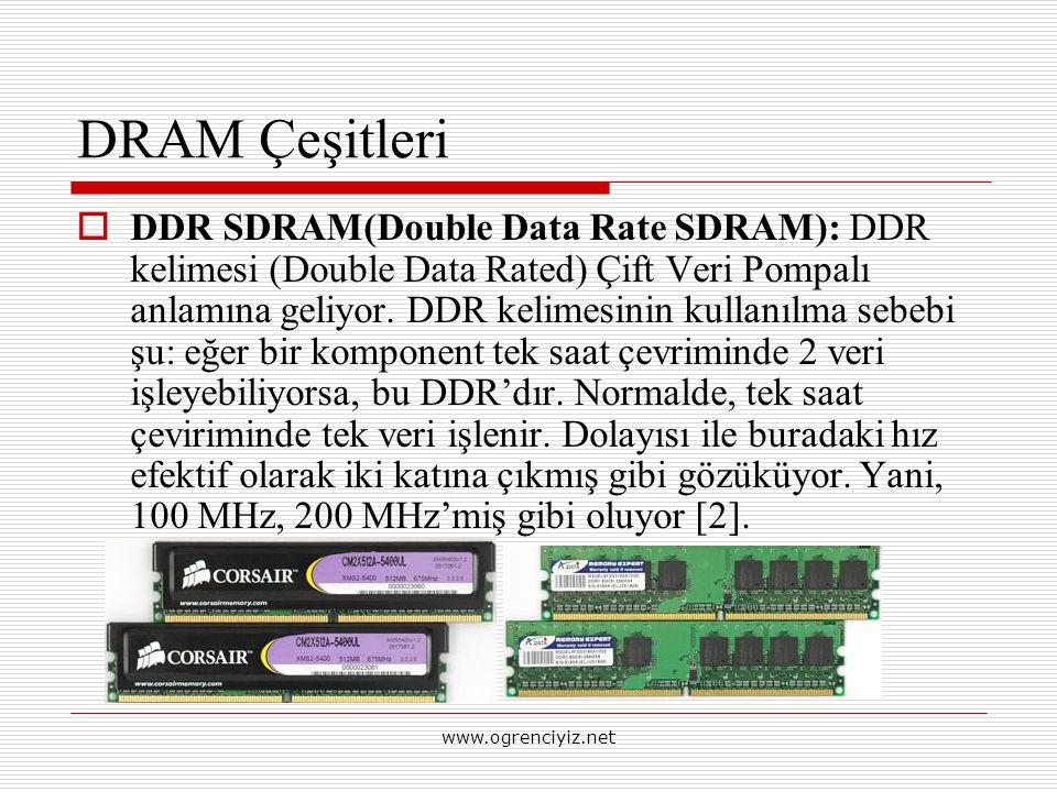 DRAM Çeşitleri  DDR SDRAM(Double Data Rate SDRAM): DDR kelimesi (Double Data Rated) Çift Veri Pompalı anlamına geliyor. DDR kelimesinin kullanılma se