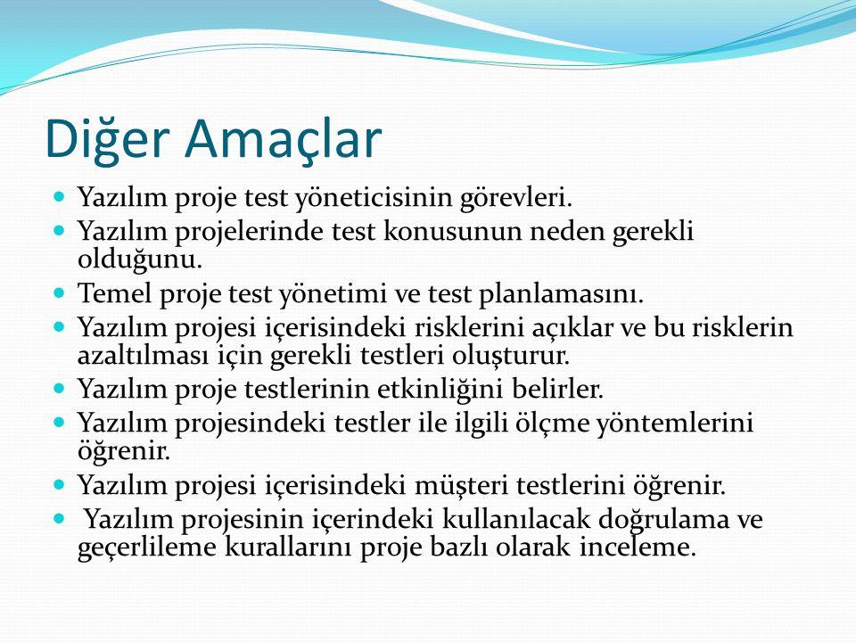 Diğer Amaçlar Yazılım proje test yöneticisinin görevleri. Yazılım projelerinde test konusunun neden gerekli olduğunu. Temel proje test yönetimi ve tes