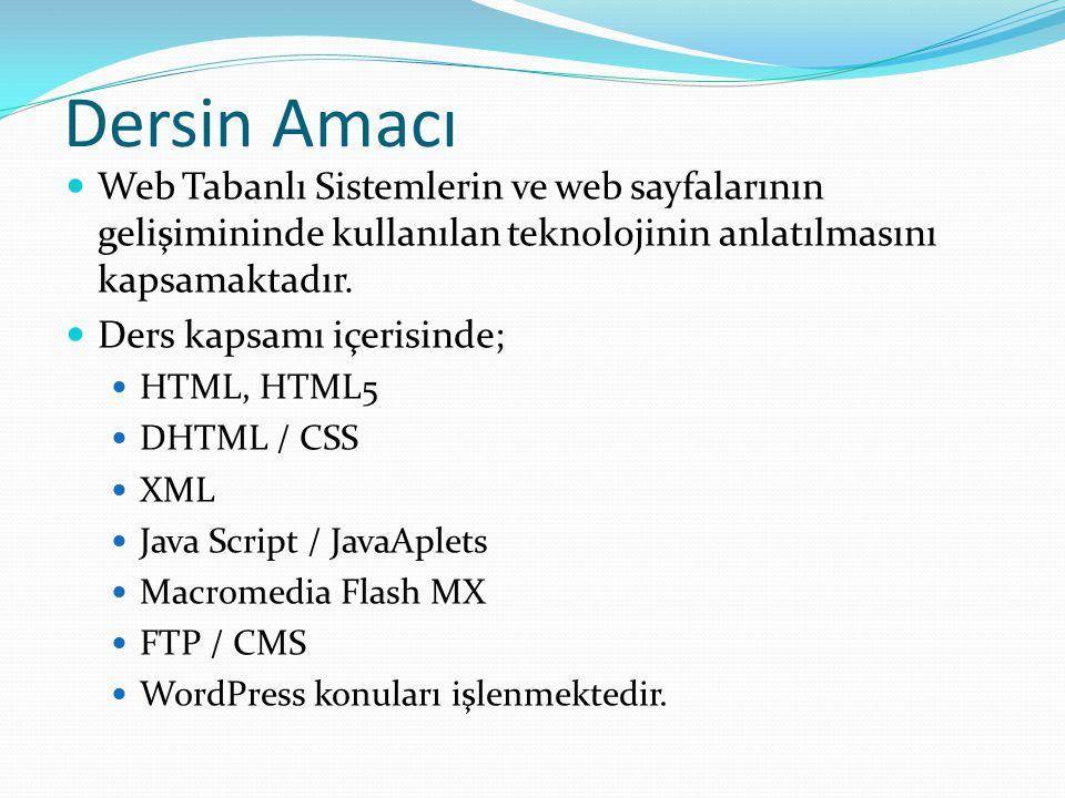 Dersin Amacı Web Tabanlı Sistemlerin ve web sayfalarının gelişimininde kullanılan teknolojinin anlatılmasını kapsamaktadır.