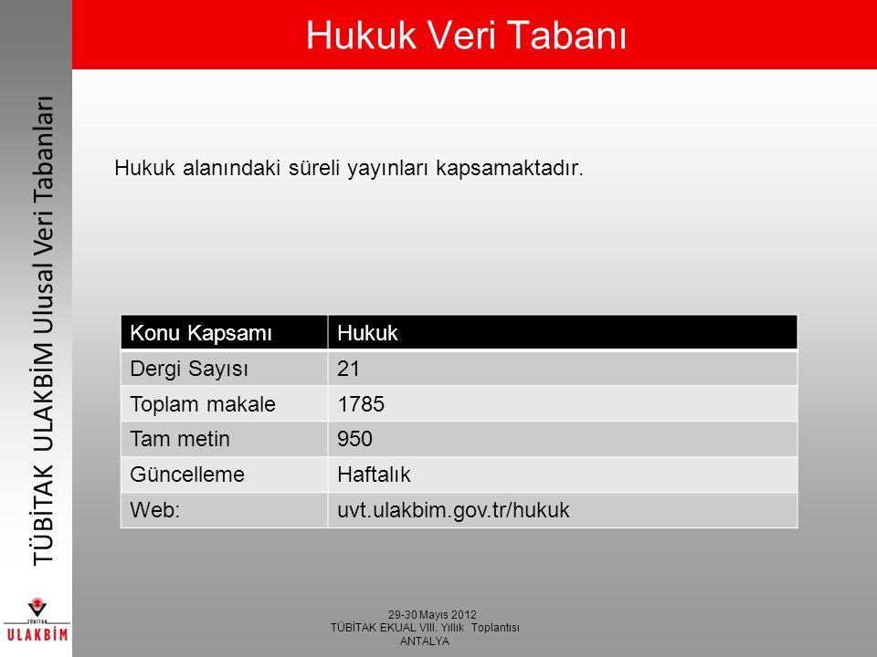 29-30 Mayıs 2012 TÜBİTAK EKUAL VIII. Yıllık Toplantısı ANTALYA TÜBİTAK ULAKBİM Ulusal Veri Tabanları Hukuk Veri Tabanı Hukuk alanındaki süreli yayınla