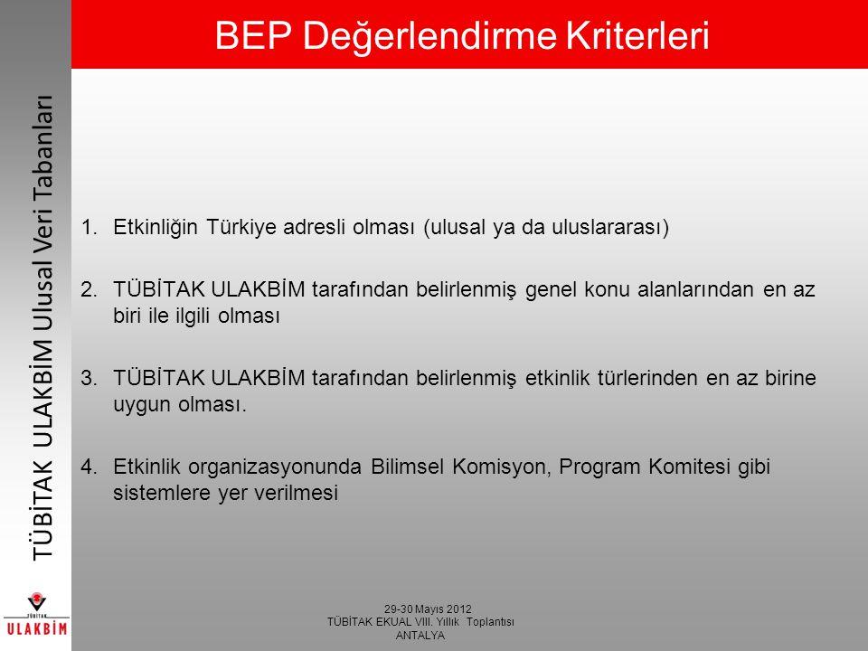 29-30 Mayıs 2012 TÜBİTAK EKUAL VIII. Yıllık Toplantısı ANTALYA TÜBİTAK ULAKBİM Ulusal Veri Tabanları BEP Değerlendirme Kriterleri 1.Etkinliğin Türkiye
