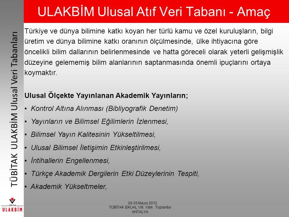 29-30 Mayıs 2012 TÜBİTAK EKUAL VIII. Yıllık Toplantısı ANTALYA TÜBİTAK ULAKBİM Ulusal Veri Tabanları ULAKBİM Ulusal Atıf Veri Tabanı - Amaç Türkiye ve