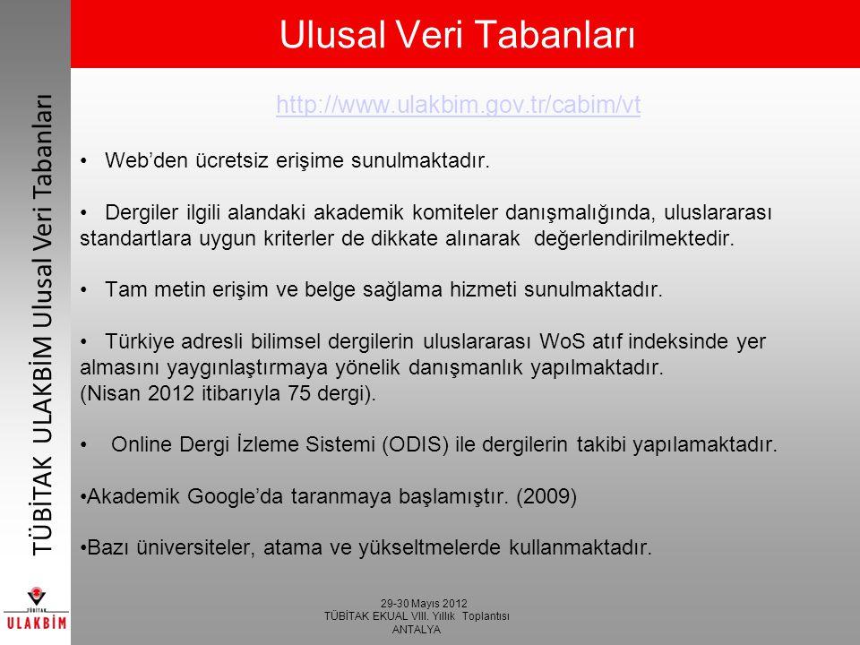 29-30 Mayıs 2012 TÜBİTAK EKUAL VIII.