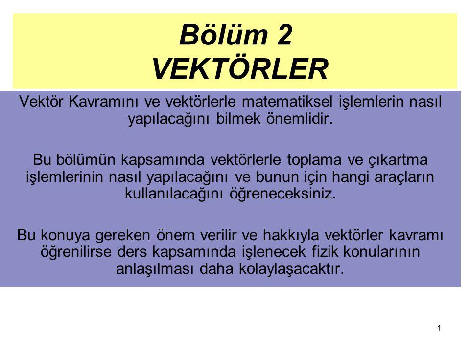 1 Bölüm 2 VEKTÖRLER Vektör Kavramını ve vektörlerle matematiksel işlemlerin nasıl yapılacağını bilmek önemlidir. Bu bölümün kapsamında vektörlerle top