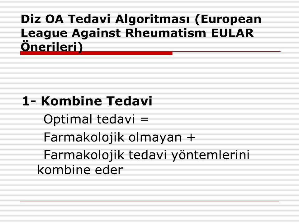 Diz OA Tedavi Algoritması (European League Against Rheumatism EULAR Önerileri) 1- Kombine Tedavi Optimal tedavi = Farmakolojik olmayan + Farmakolojik