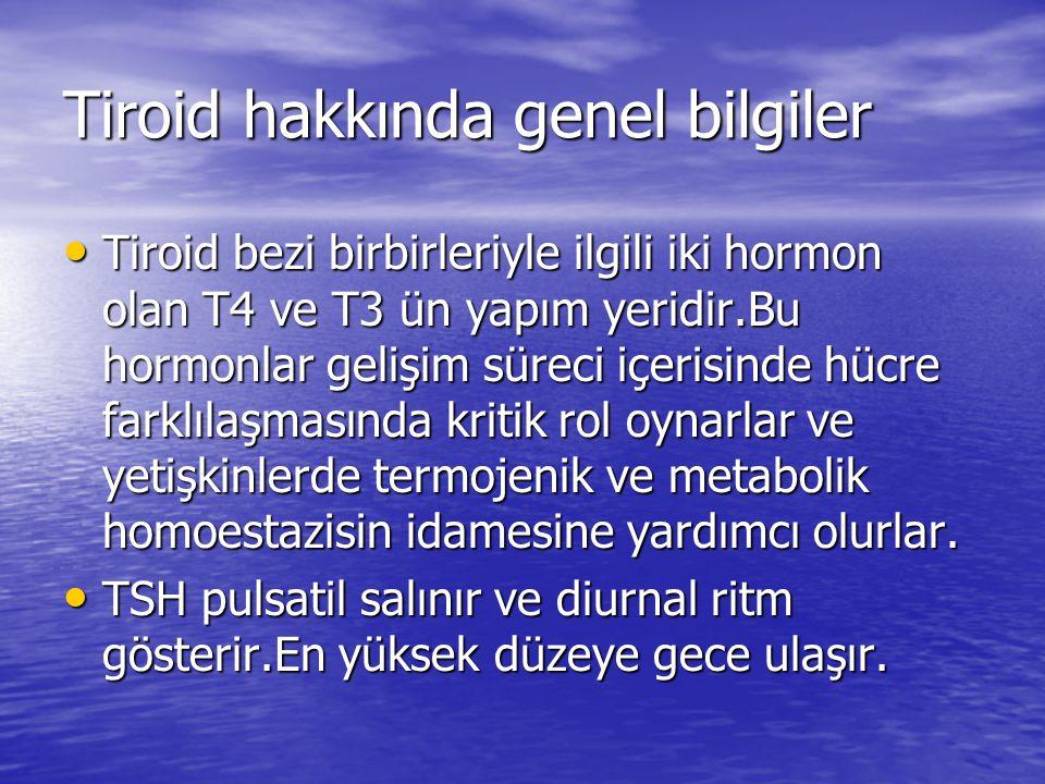 Tiroid hakkında genel bilgiler Tiroid bezi birbirleriyle ilgili iki hormon olan T4 ve T3 ün yapım yeridir.Bu hormonlar gelişim süreci içerisinde hücre farklılaşmasında kritik rol oynarlar ve yetişkinlerde termojenik ve metabolik homoestazisin idamesine yardımcı olurlar.