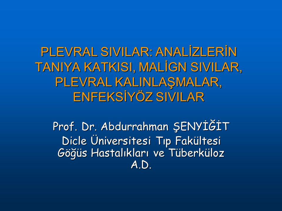 PLEVRAL SIVILAR: ANALİZLERİN TANIYA KATKISI, MALİGN SIVILAR, PLEVRAL KALINLAŞMALAR, ENFEKSİYÖZ SIVILAR Prof. Dr. Abdurrahman ŞENYİĞİT Dicle Üniversite