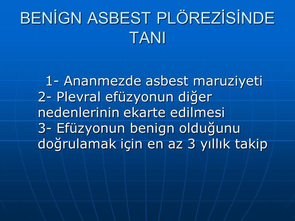 BENİGN ASBEST PLÖREZİSİNDE TANI 1- Ananmezde asbest maruziyeti 2- Plevral efüzyonun diğer nedenlerinin ekarte edilmesi 3- Efüzyonun benign olduğunu do