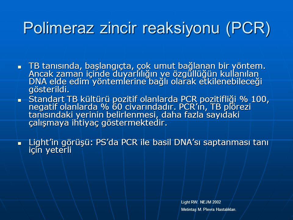 Polimeraz zincir reaksiyonu (PCR) TB tanısında, başlangıçta, çok umut bağlanan bir yöntem. Ancak zaman içinde duyarlılığın ve özgüllüğün kullanılan DN