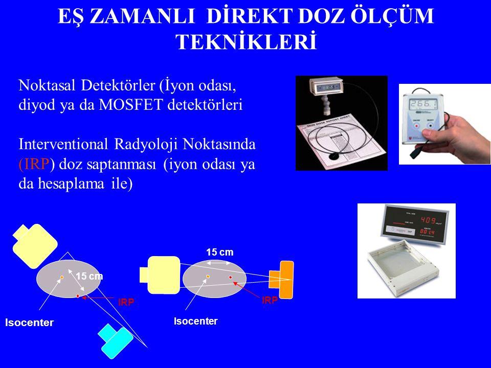 15 cm Isocenter IRP 15 cm Isocenter IRP Noktasal Detektörler (İyon odası, diyod ya da MOSFET detektörleri Interventional Radyoloji Noktasında (IRP) doz saptanması (iyon odası ya da hesaplama ile) EŞ ZAMANLI DİREKT DOZ ÖLÇÜM TEKNİKLERİ