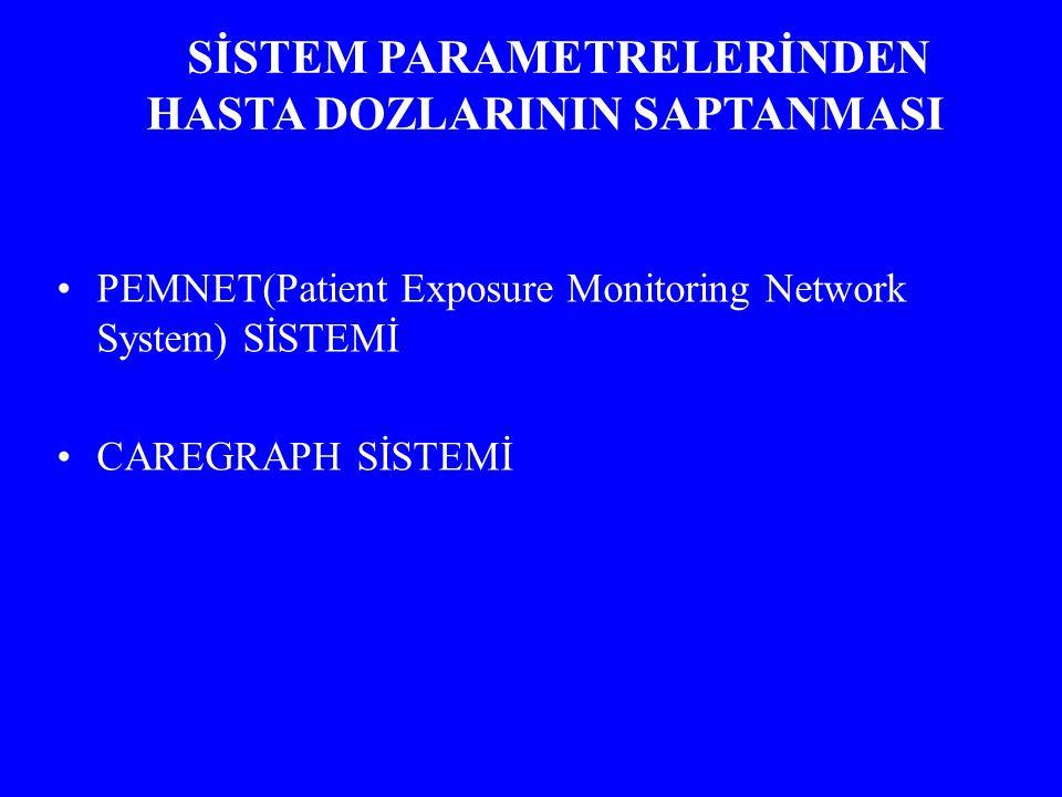 PEMNET(Patient Exposure Monitoring Network System) SİSTEMİ CAREGRAPH SİSTEMİ SİSTEM PARAMETRELERİNDEN HASTA DOZLARININ SAPTANMASI