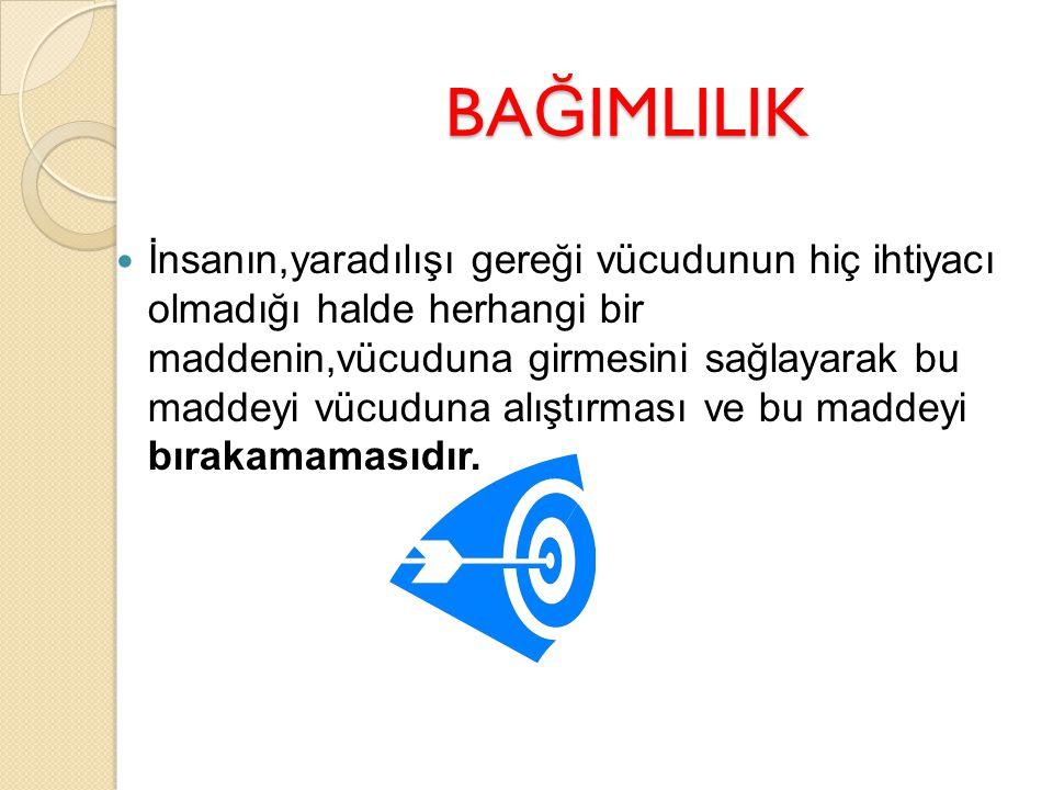 BA Ğ IMLILIK; Ba ğ ımlılı ğ ın en önemli kriteri,kullanılan maddenin kontrol edilememesi ve kullanımın durdurulamamasıdır
