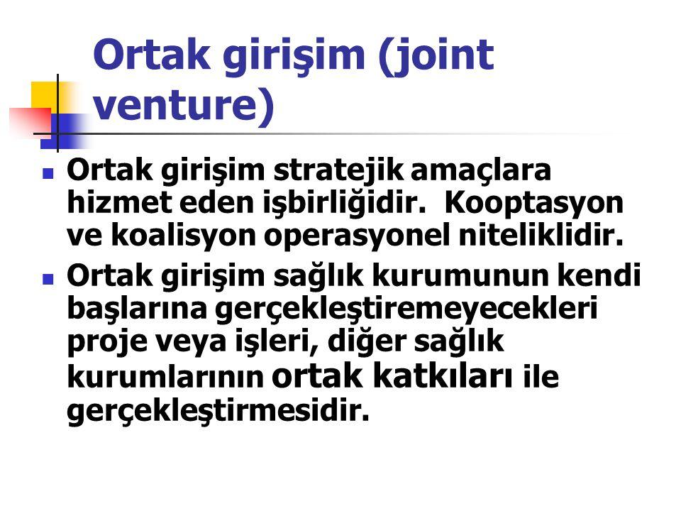 Ortak girişim (joint venture) Ortak girişim stratejik amaçlara hizmet eden işbirliğidir. Kooptasyon ve koalisyon operasyonel niteliklidir. Ortak giriş