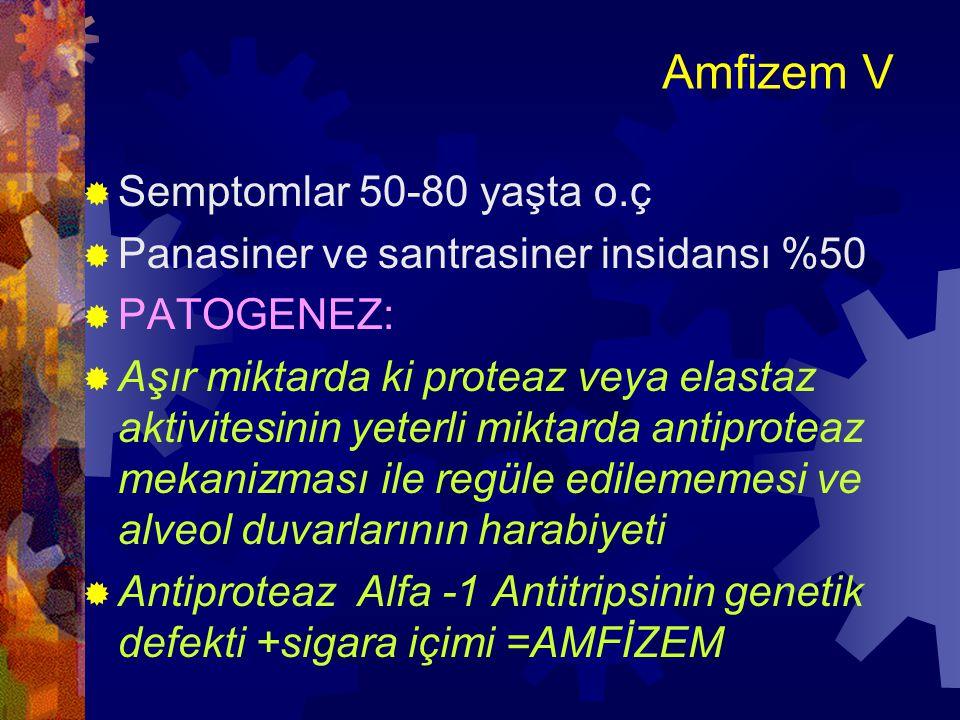 Amfizem VI  Alfa-1 Antitripsin (A-1A) normalde serumda, doku sıvılarında ve makrofajlarda  İltihapta lökositlarden salınan proteazların İNHİBİTÖRÜ dür  Proteaz aktivitesi nötrofillerden, mast h., makrofaj, pankreas, bakterilerden  Bu enzim 14.