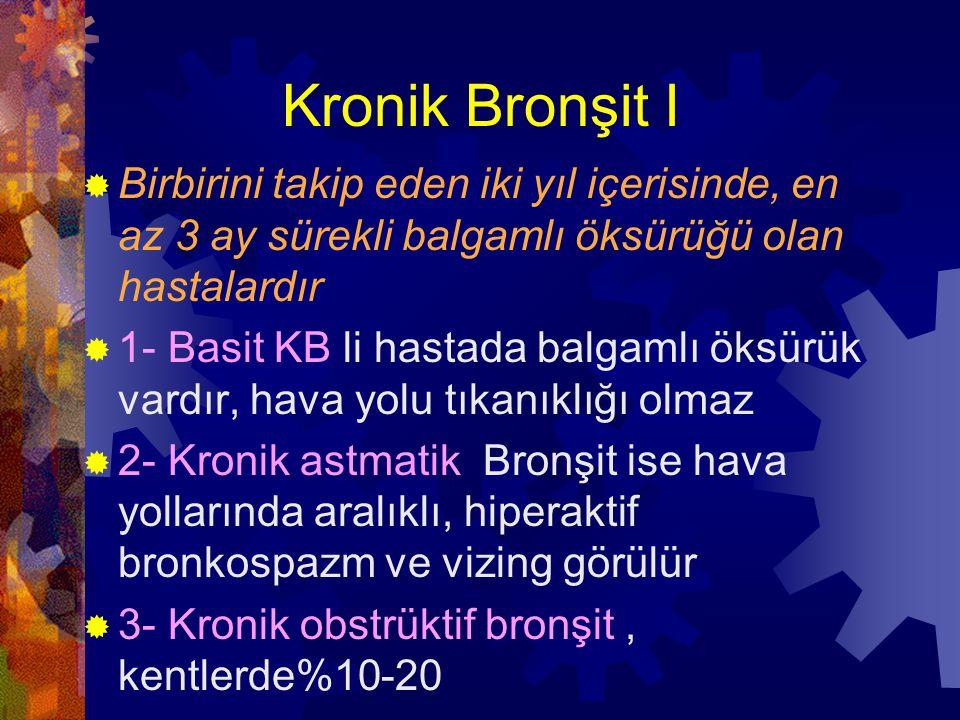 Kronik Bronşit II  2 faktör rol oynar  a- İnhale edilen maddelerle olan kronik irritasyon  b- Mikrobik enfeksiyonlar  Orta yaşlı erkeklerde sık  Sigara en önemli etken  En erken bulgu artmış mukus sekresyonu