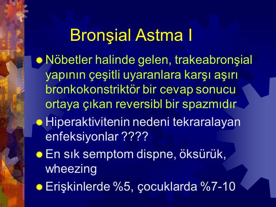 Bronşial Astma II  1- Ekstrinsik: Tip I hipersensitivite reaksiyonudur, üç tipi var  Atopik A (En sık görülendir, hayatın ilk ve ikinci on yılında o.ç, hastada ve ailede allerji öyküsü vardır, kanda eozinofil sayısı ve serumda IgE yükselmiştir)  Mesleki A  Allerjik Bronkopulmoner Aspergilloz,is