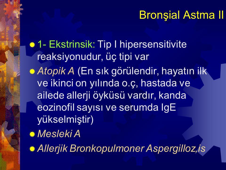 Bronşial Astma III  2- İntrinsik A: Tetiği çeken immün mekanizma değildir  Aspirin, pulmoner enfeksiyon, soğuk, psikolojik stres, eksersiz ve sülfir dioksit gibi irritanlar ile o.ç  Patogenez:Çeşitli uyaranlara karşı artmış bronlokonstrüktör cevaptır  Aşırı cevapta altta yatan neden bronşial iltihaptı???