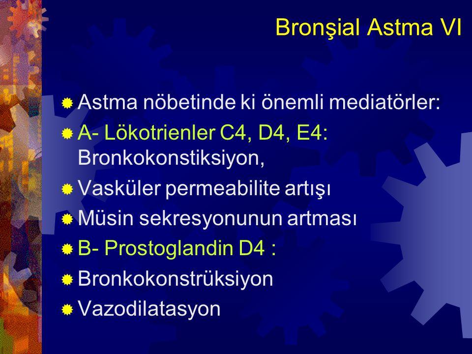 Bronşial Astma VII  C- Eozinofilik ve nötrofilik kemotaktik faktörler ve Lökotrien B4:  D- Trombosit Aktive eden Faktör (PAF)  Trombositlerin biraraya gelmesine ve granüllerinden histamin salgılanmasına neden olur  Mediatörlerle oluşan erken fazda b.k, ödem ve mukus sekresyonu oluşurken, bunu lökosit toplanmasının izlendiği geç faz takip eder