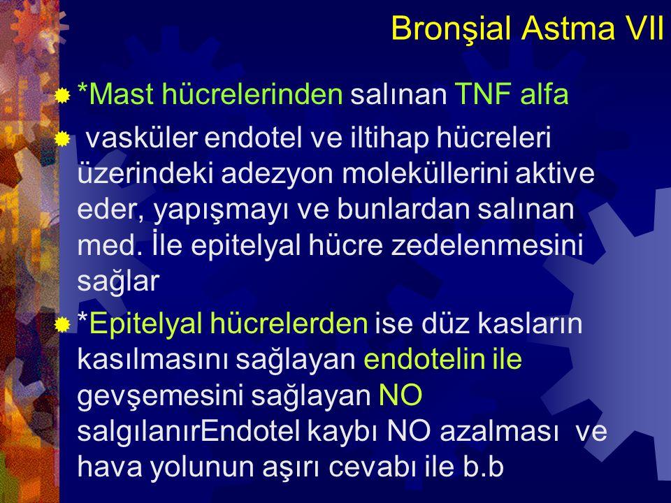 Bronşial Astma VIIII  *Geç fazda önemli olan eozinofillerin allerjik iltihap yerinde toplanması mast hücre kaynaklı IL-5, PAF ve epitel hücre kaynaklı Eotaxin ile olur  Eozinofiller;  Epitel için toksik MBP ve ECP üretir  Lökotrien C4 ve PAF üretirler ve bunlarla mast hücresini aktive eder ve iltihabın şiddetini artırırlar