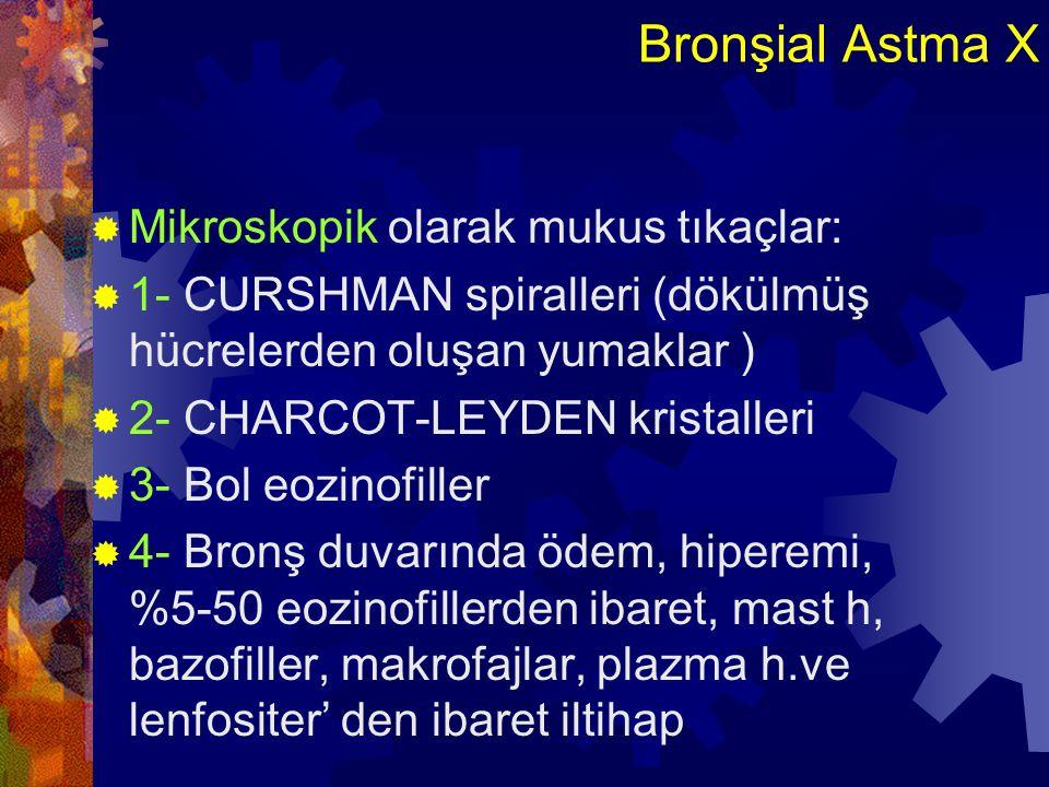 Bronşial Astma XI  5- Yer yer nekroz ve epitel hücrelerinde dökülme  6- Bazal membran altındaki kollajende kalınlaşma  7-Submukozal mukus glandlarının çapında veyabronşial epiteldeki goblet hücrelerin sayısında artma  8- Bronş duvarında ki düz kaslarda hipertrofi ve hiperplazi