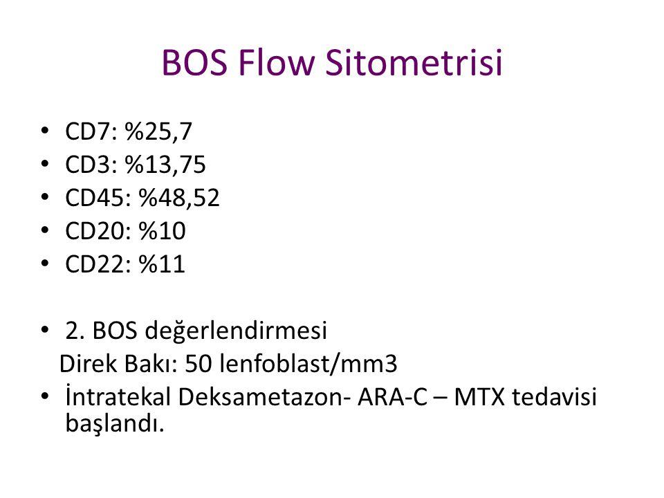 BOS Flow Sitometrisi CD7: %25,7 CD3: %13,75 CD45: %48,52 CD20: %10 CD22: %11 2. BOS değerlendirmesi Direk Bakı: 50 lenfoblast/mm3 İntratekal Deksameta