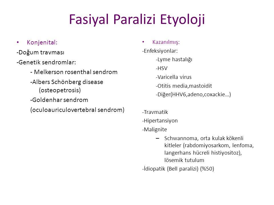 Fasiyal Paralizi Etyoloji Konjenital: -Doğum travması -Genetik sendromlar: - Melkerson rosenthal sendrom -Albers Schönberg disease (osteopetrosis) -Go