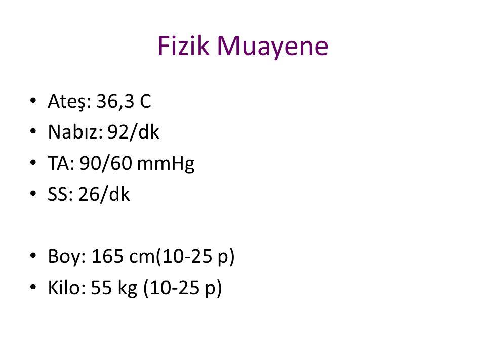 Fizik Muayene Ateş: 36,3 C Nabız: 92/dk TA: 90/60 mmHg SS: 26/dk Boy: 165 cm(10-25 p) Kilo: 55 kg (10-25 p)